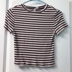 H&M Divided Cropped T-Shirt Striped Light Pink And Black